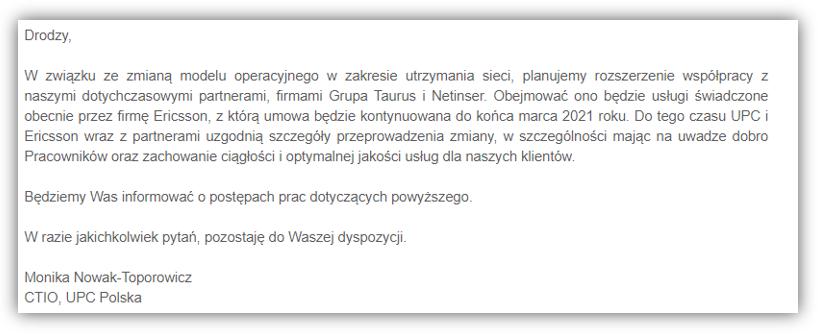 komunikat UPC ws E_